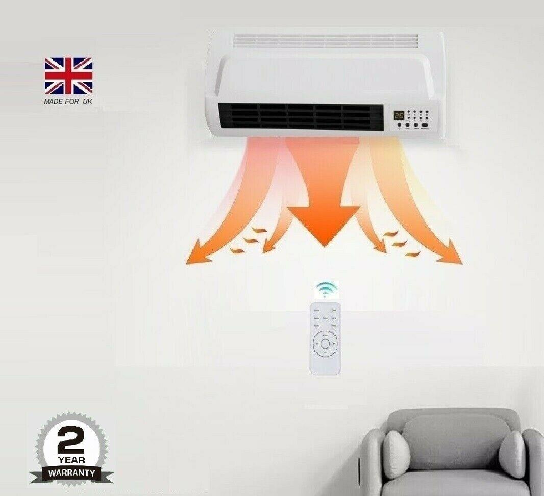 Wall fan Heater 7 DAY Timer PTC bathroom workshop electric ...